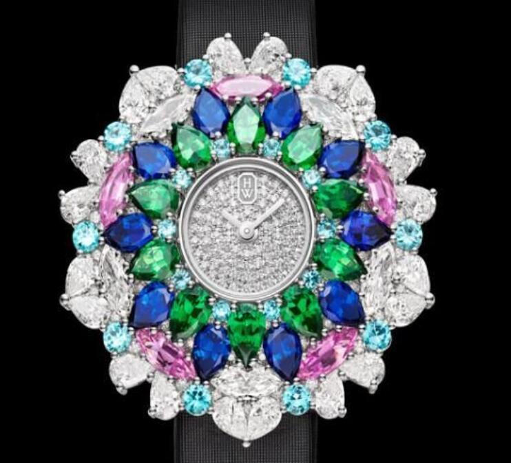 海瑞温斯顿魔镜Kaleidoscope白与黑颜色高级珠宝腕表