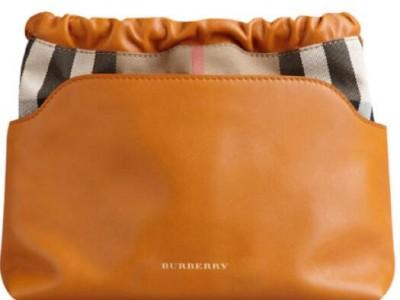博柏利巴宝莉回收小牛皮经典格纹斜挎包小牛皮织物铜橙色